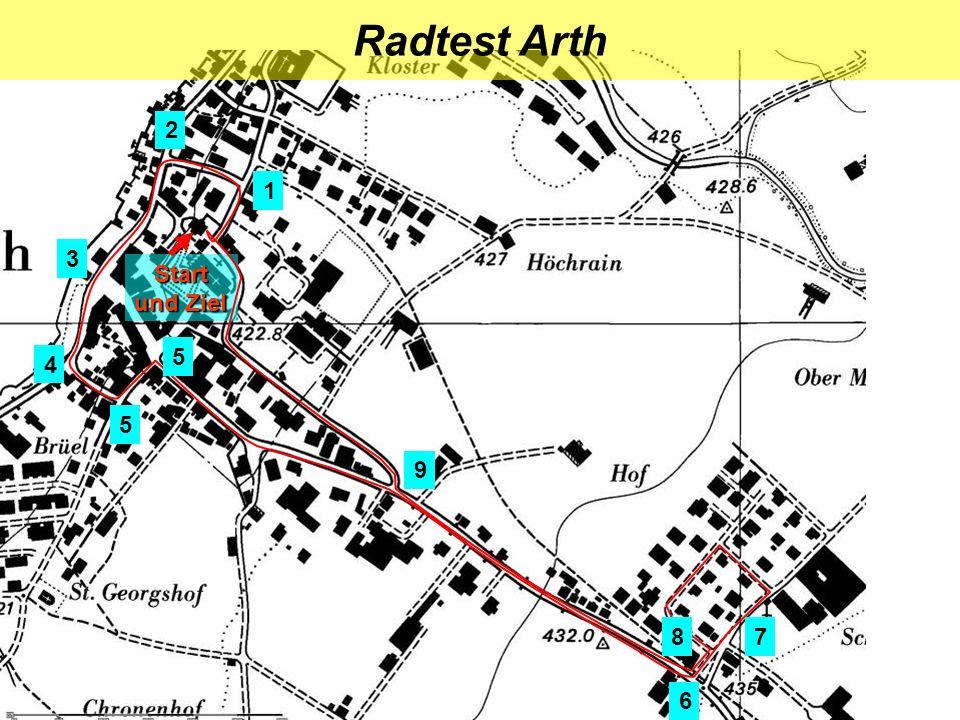 Radtest Arth 2 1 3 Start und Ziel 5 4 5 9 8 7 6