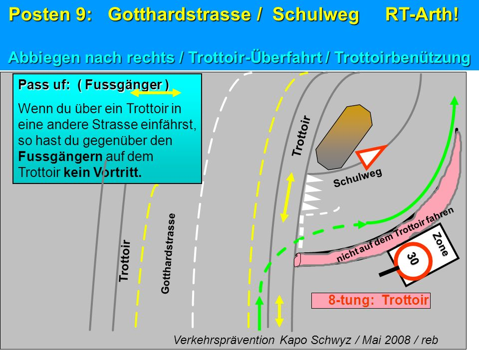 Posten 9: Gotthardstrasse / Schulweg RT-Arth!