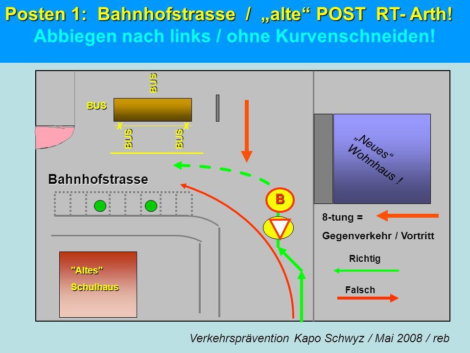 """Posten 1: Bahnhofstrasse / """"alte POST RT- Arth!"""