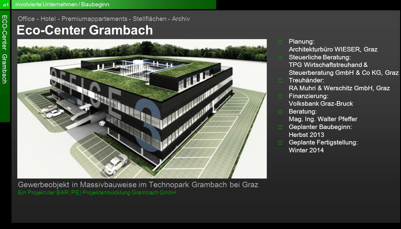 a1 involvierte Unternehmen / Baubeginn. Office - Hotel - Premiumappartements - Stellflächen - Archiv.