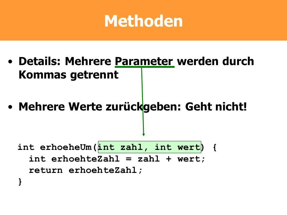 Methoden Details: Mehrere Parameter werden durch Kommas getrennt