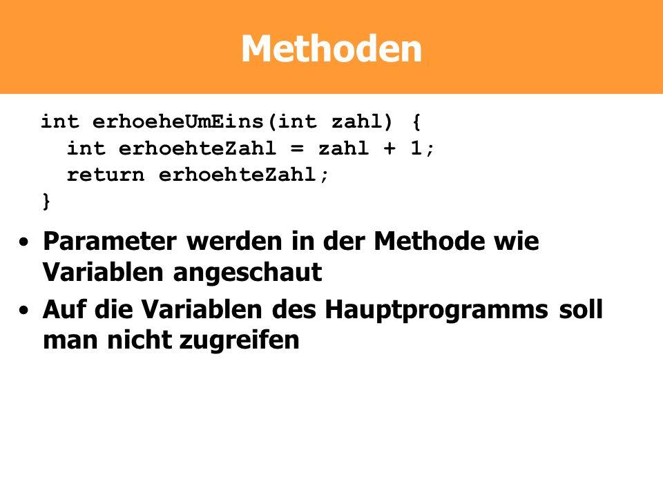 Methoden Parameter werden in der Methode wie Variablen angeschaut