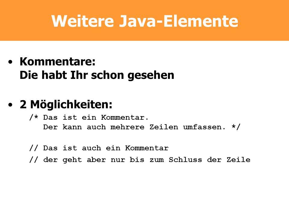 Weitere Java-Elemente