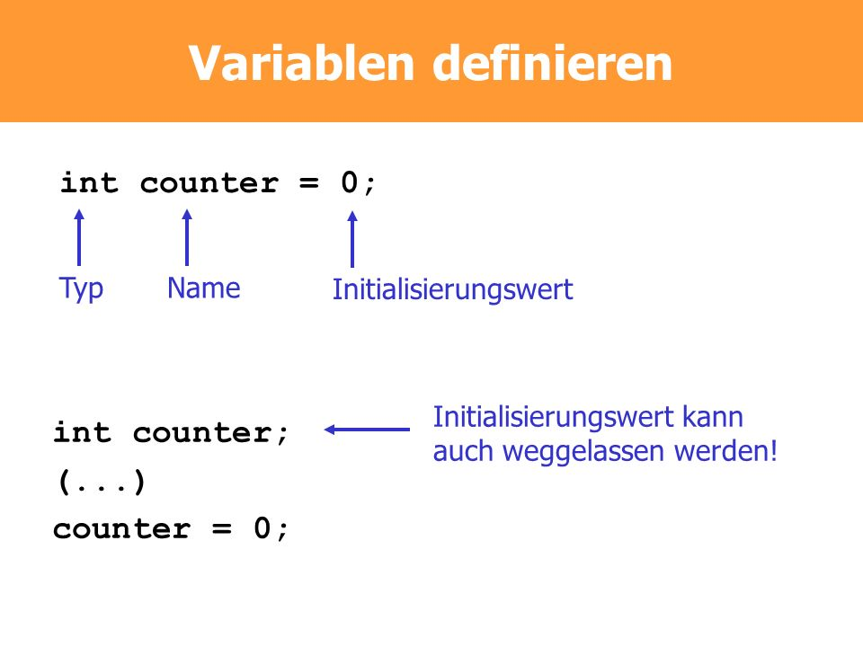 Variablen definieren int counter = 0; int counter; (...) counter = 0;