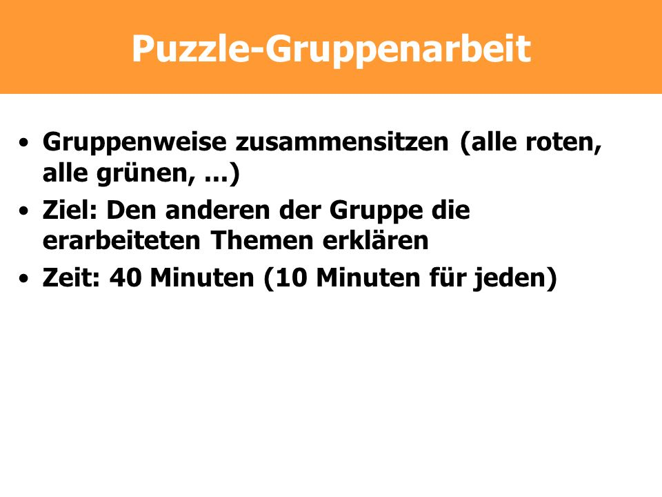 Puzzle-Gruppenarbeit