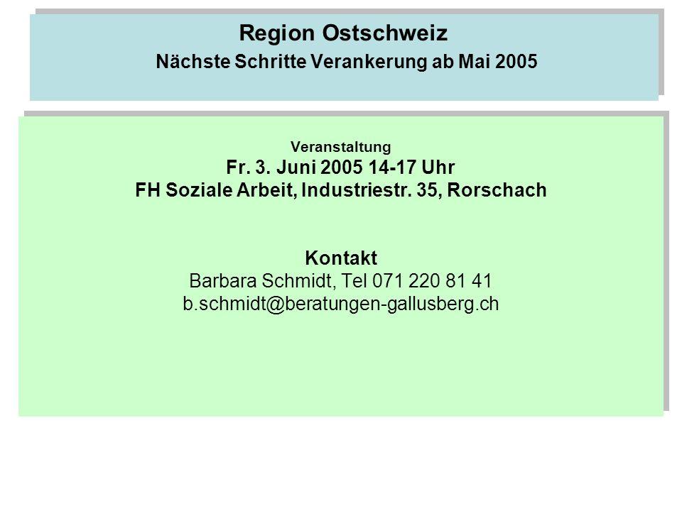 Region Ostschweiz Nächste Schritte Verankerung ab Mai 2005