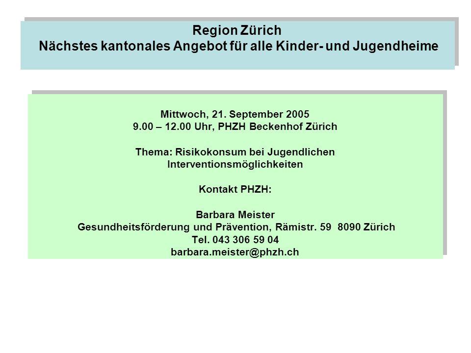 Region Zürich Nächstes kantonales Angebot für alle Kinder- und Jugendheime