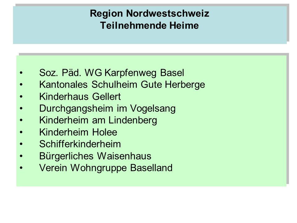 Region Nordwestschweiz Teilnehmende Heime