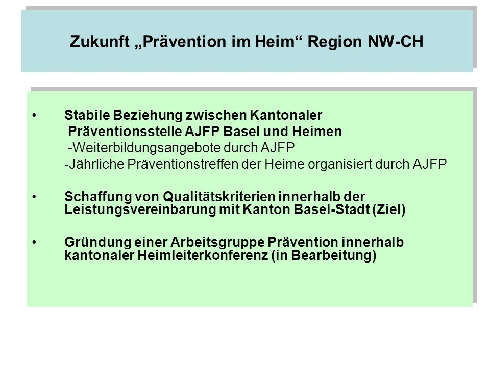 """Zukunft """"Prävention im Heim Region NW-CH"""