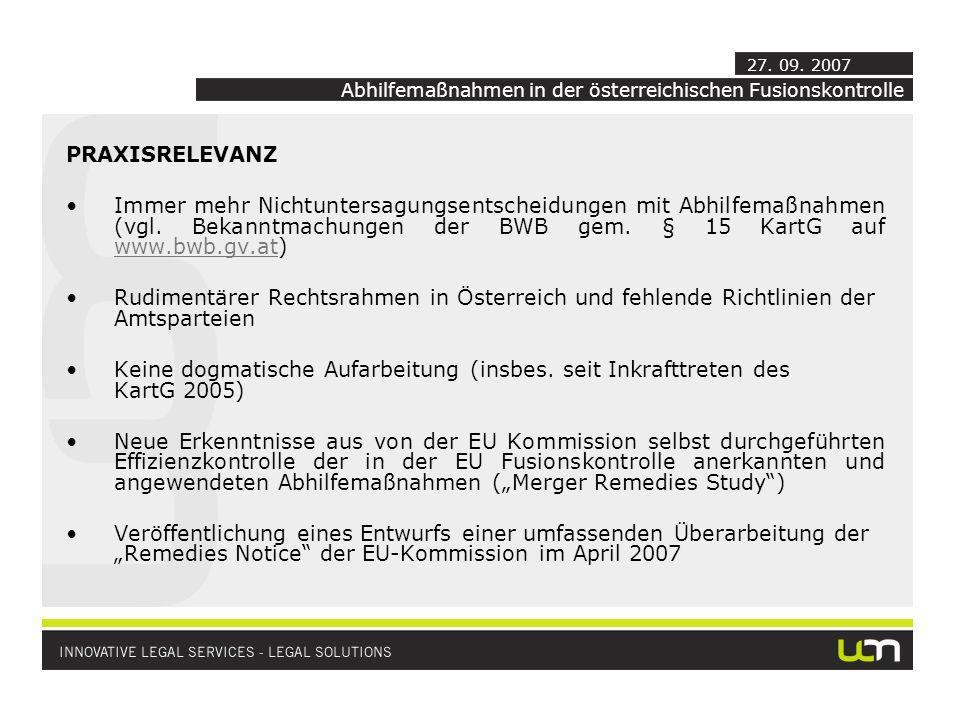 Abhilfemaßnahmen in der österreichischen Fusionskontrolle