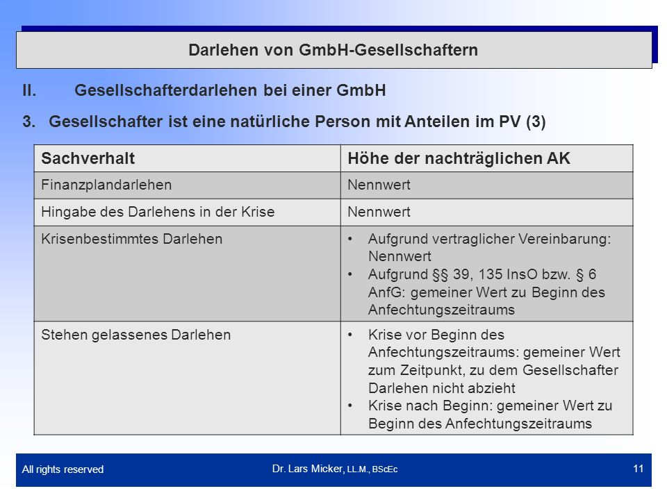 Darlehen von GmbH-Gesellschaftern