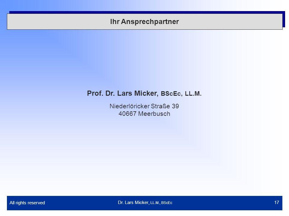 Prof. Dr. Lars Micker, BScEc, LL.M.