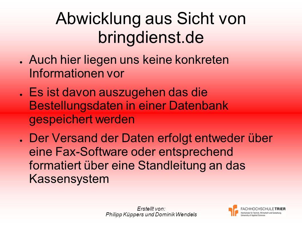 Abwicklung aus Sicht von bringdienst.de