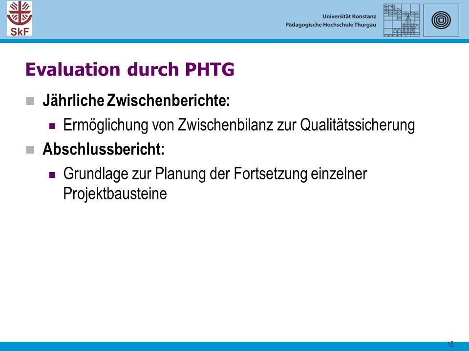 Evaluation durch PHTG Jährliche Zwischenberichte: