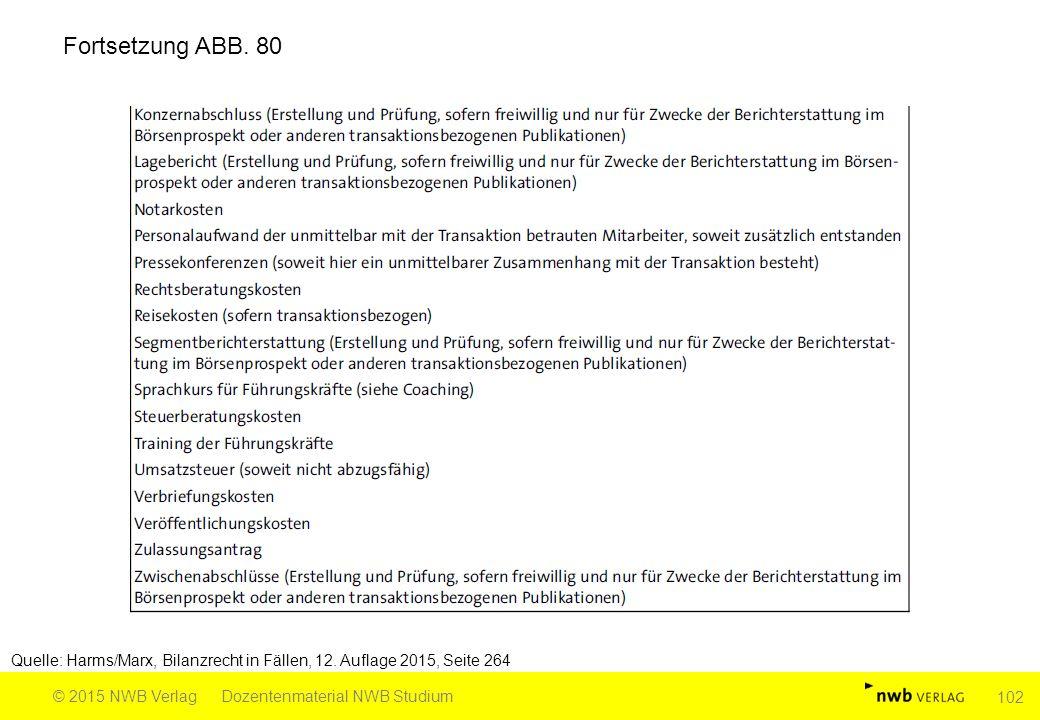 Fortsetzung ABB. 80 Quelle: Harms/Marx, Bilanzrecht in Fällen, 12. Auflage 2015, Seite 264. © 2015 NWB Verlag.