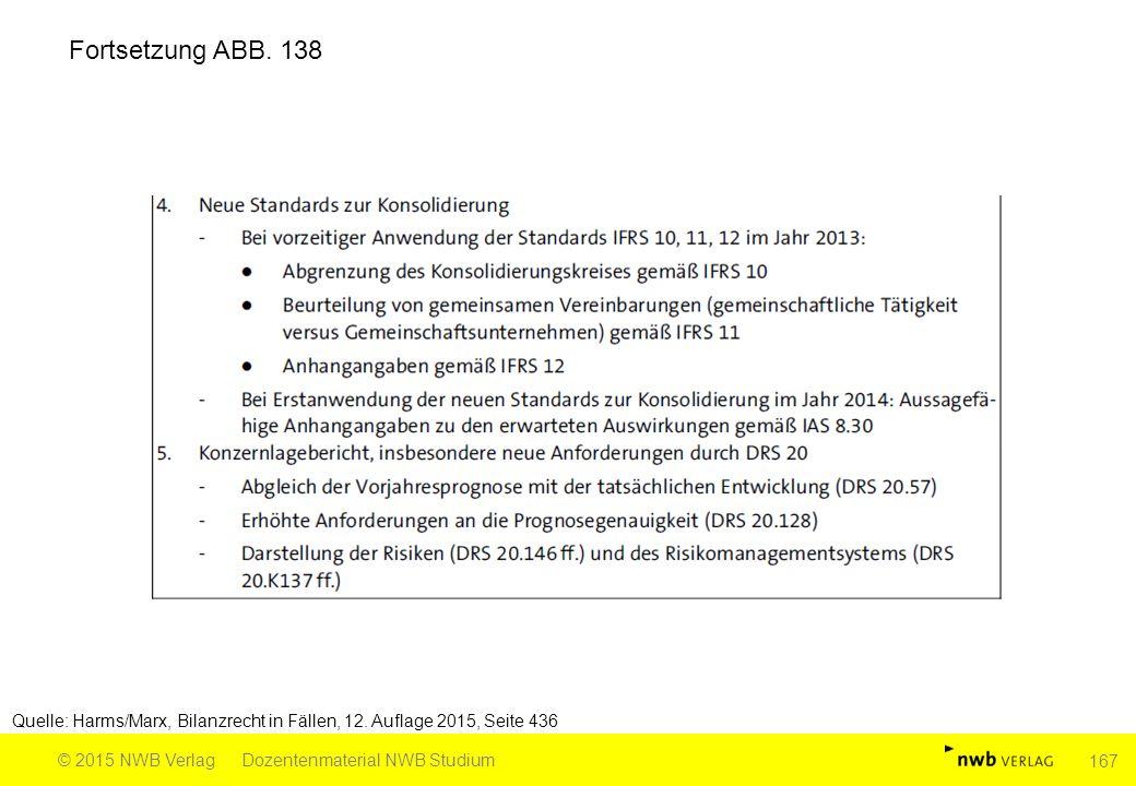 Fortsetzung ABB. 138 Quelle: Harms/Marx, Bilanzrecht in Fällen, 12. Auflage 2015, Seite 436. © 2015 NWB Verlag.