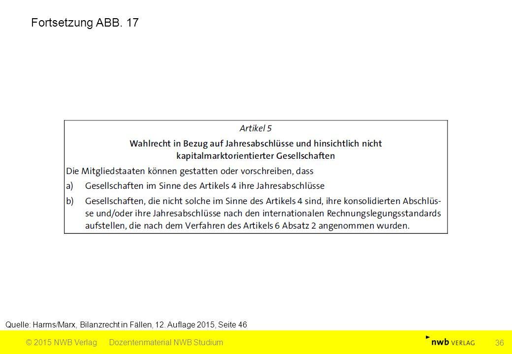 Fortsetzung ABB. 17 Quelle: Harms/Marx, Bilanzrecht in Fällen, 12. Auflage 2015, Seite 46. © 2015 NWB Verlag.