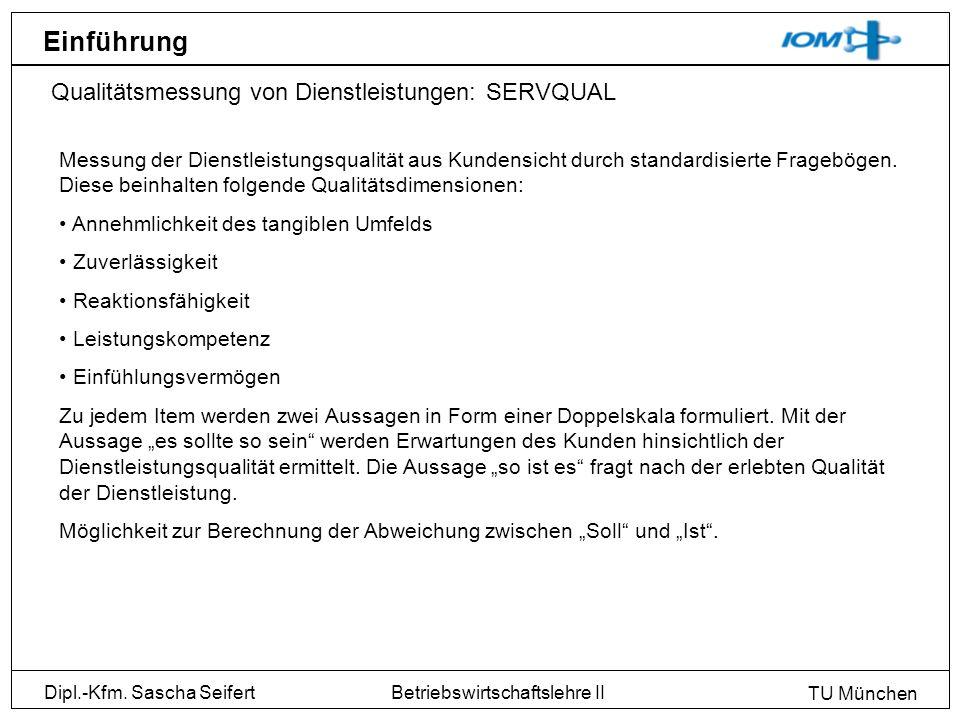 Einführung Qualitätsmessung von Dienstleistungen: SERVQUAL