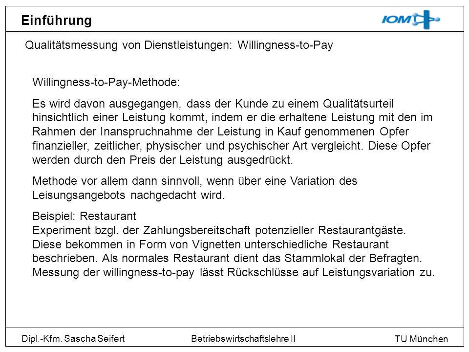 Einführung Qualitätsmessung von Dienstleistungen: Willingness-to-Pay