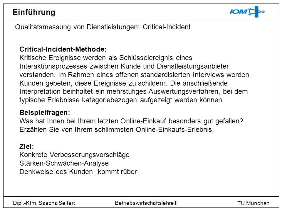 Einführung Qualitätsmessung von Dienstleistungen: Critical-Incident