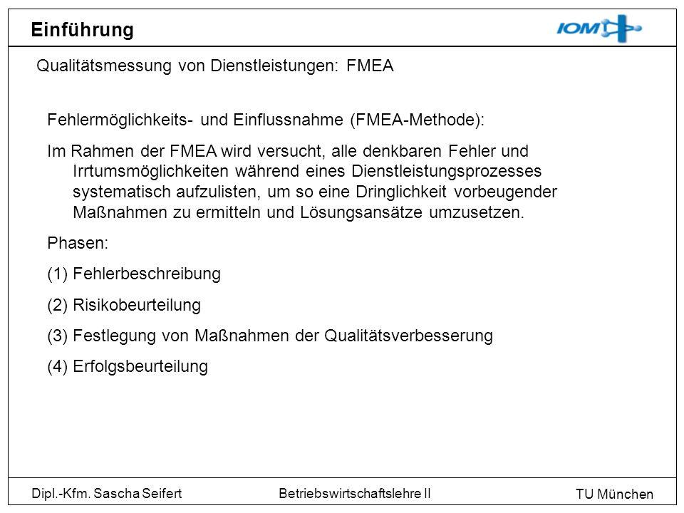 Einführung Qualitätsmessung von Dienstleistungen: FMEA