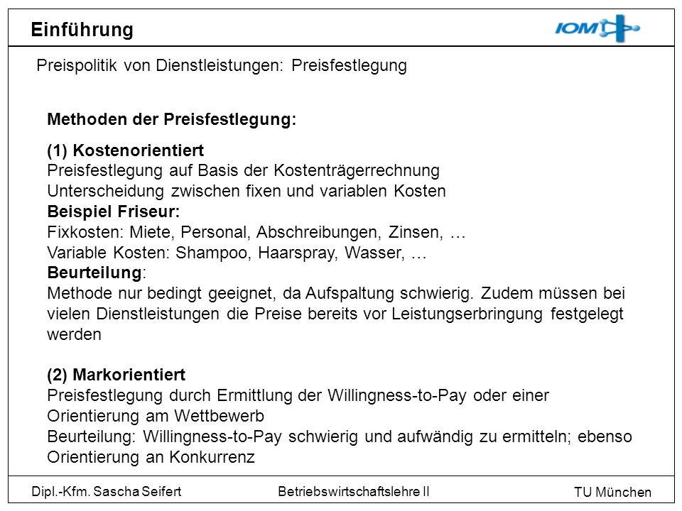 Einführung Preispolitik von Dienstleistungen: Preisfestlegung
