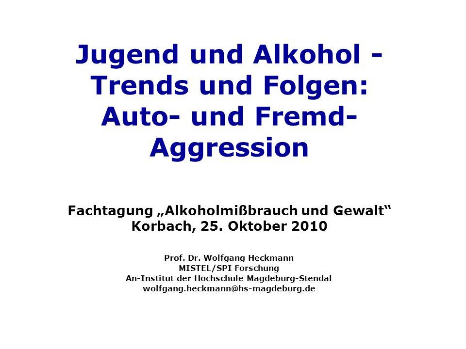"""Jugend und Alkohol - Trends und Folgen: Auto- und Fremd-Aggression Fachtagung """"Alkoholmißbrauch und Gewalt Korbach, 25. Oktober 2010"""