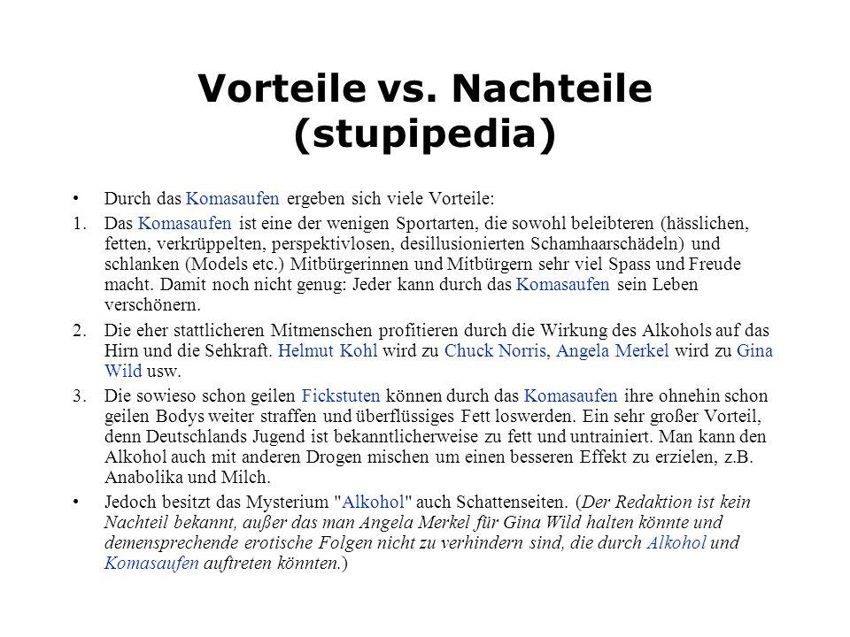 Vorteile vs. Nachteile (stupipedia)