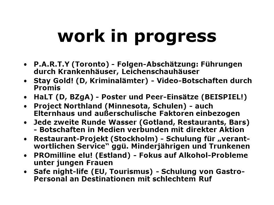 work in progress P.A.R.T.Y (Toronto) - Folgen-Abschätzung: Führungen durch Krankenhäuser, Leichenschauhäuser.