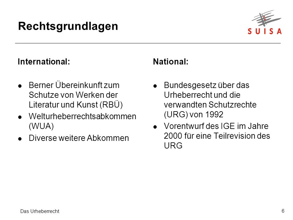 Rechtsgrundlagen International: