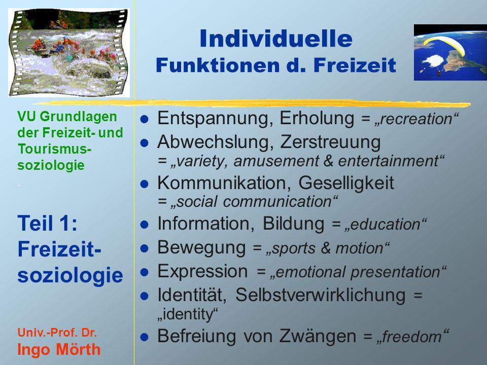 Individuelle Funktionen d. Freizeit