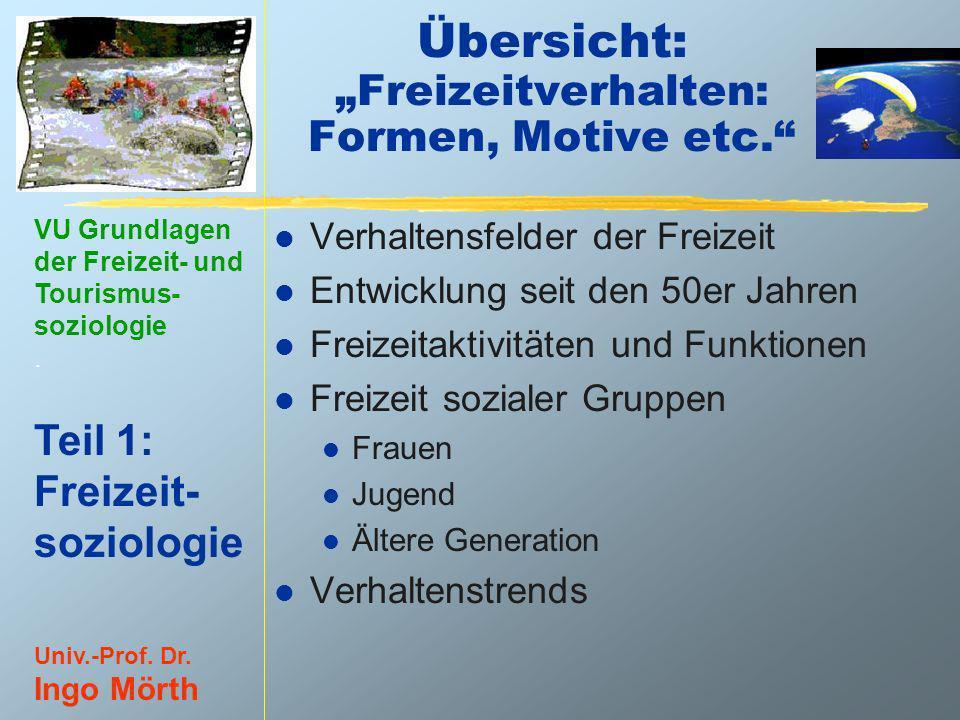 """Übersicht: """"Freizeitverhalten: Formen, Motive etc."""