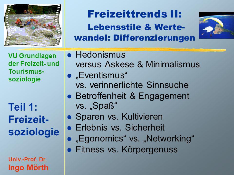 Freizeittrends II: Lebensstile & Werte- wandel: Differenzierungen