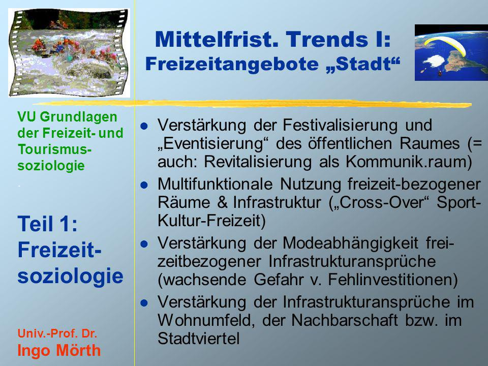 """Mittelfrist. Trends I: Freizeitangebote """"Stadt"""