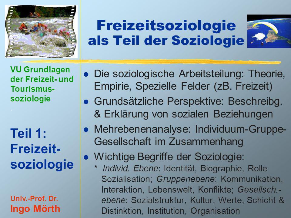 Freizeitsoziologie als Teil der Soziologie
