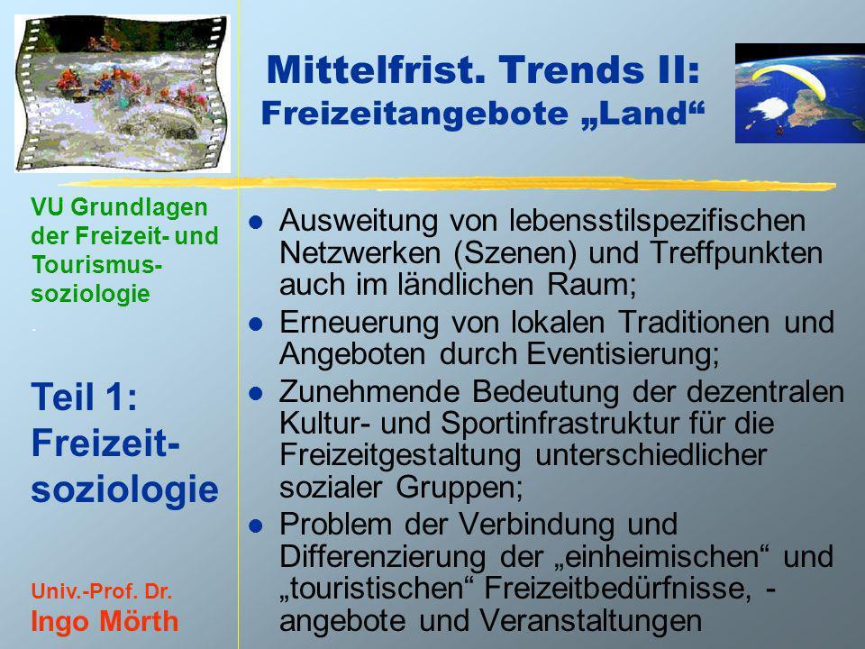 """Mittelfrist. Trends II: Freizeitangebote """"Land"""