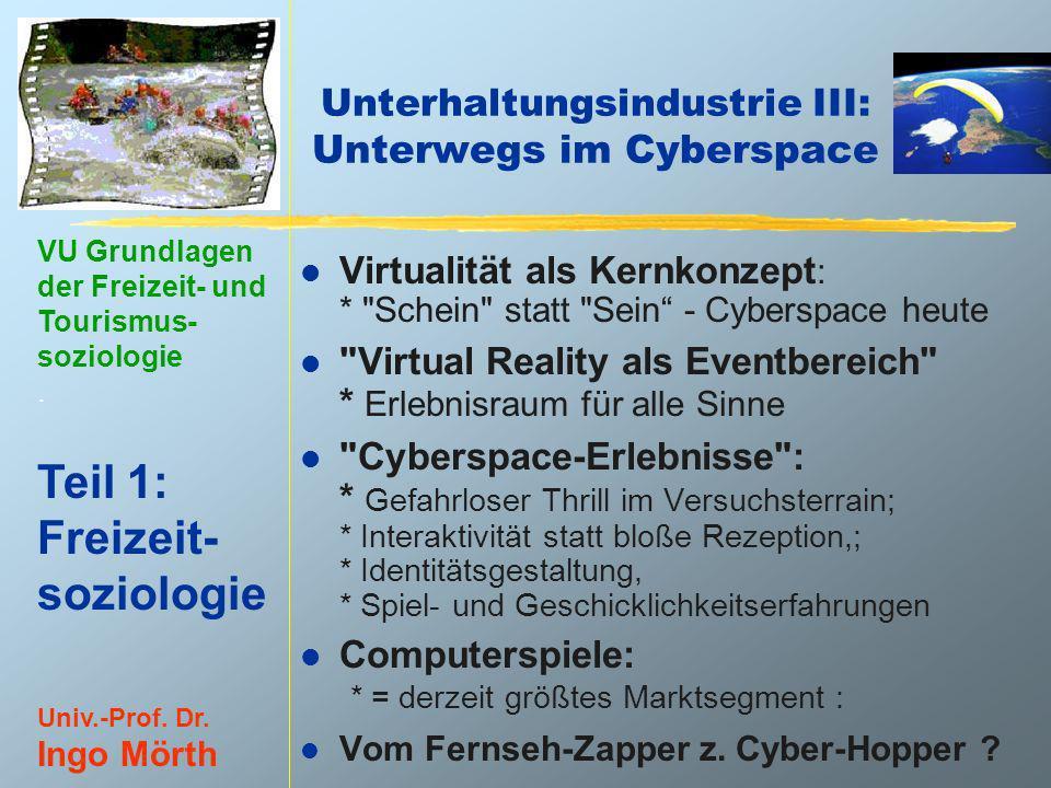 Unterhaltungsindustrie III: Unterwegs im Cyberspace
