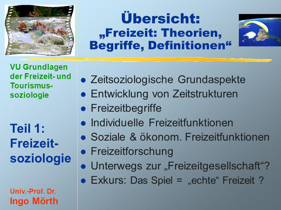 """Übersicht: """"Freizeit: Theorien, Begriffe, Definitionen"""
