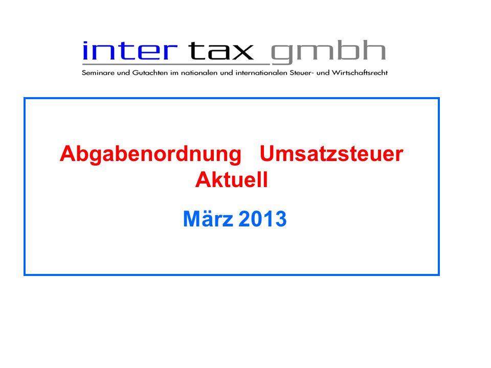 Abgabenordnung Umsatzsteuer Aktuell