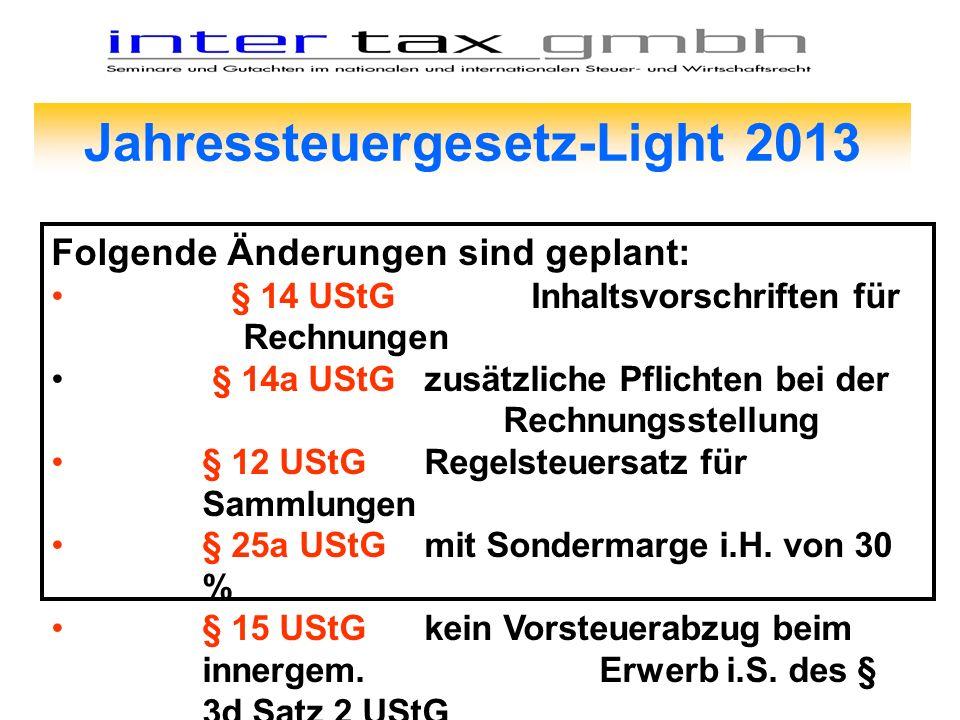 Jahressteuergesetz-Light 2013