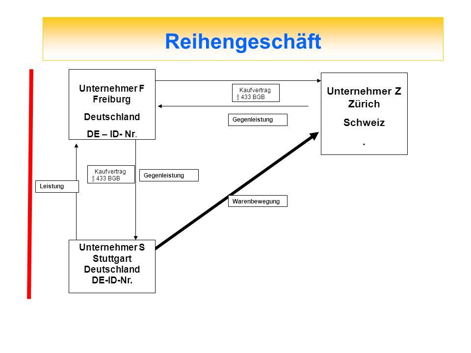 Reihengeschäft Unternehmer Z Zürich Schweiz . Unternehmer F Freiburg