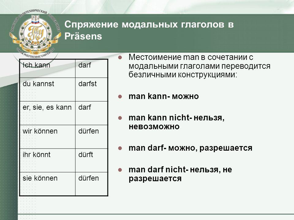 Спряжение модальных глаголов в Präsens
