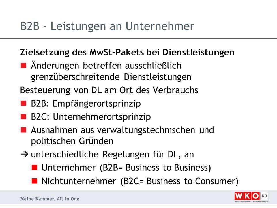 B2B - Leistungen an Unternehmer