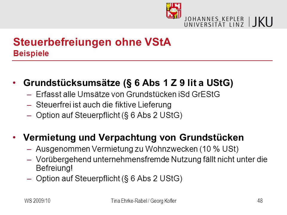 Steuerbefreiungen ohne VStA Beispiele