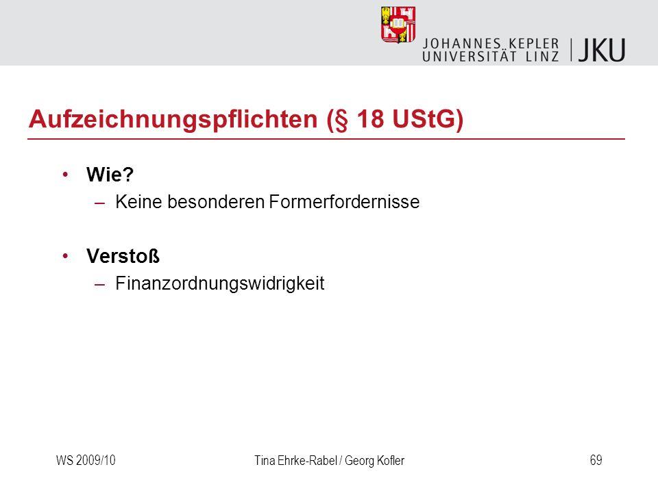 Aufzeichnungspflichten (§ 18 UStG)