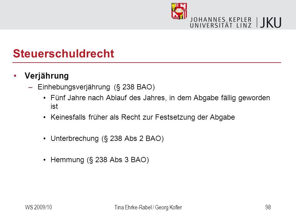 Steuerschuldrecht Verjährung Einhebungsverjährung (§ 238 BAO)