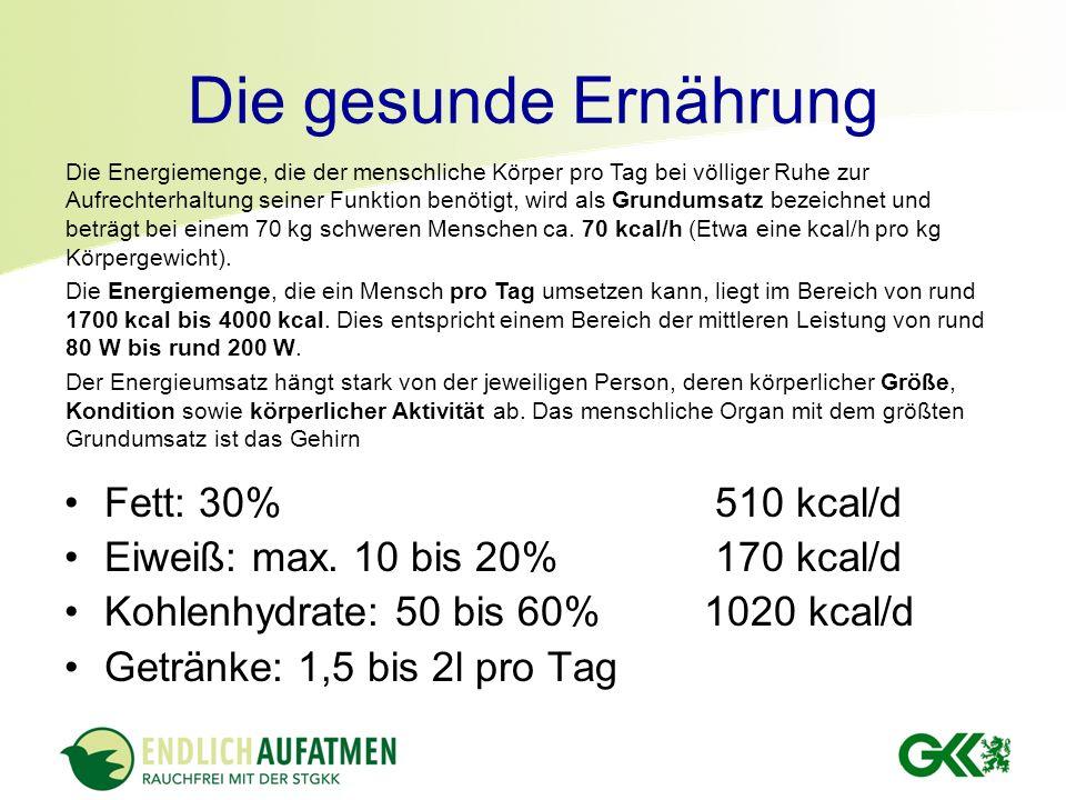Die gesunde Ernährung Fett: 30% 510 kcal/d
