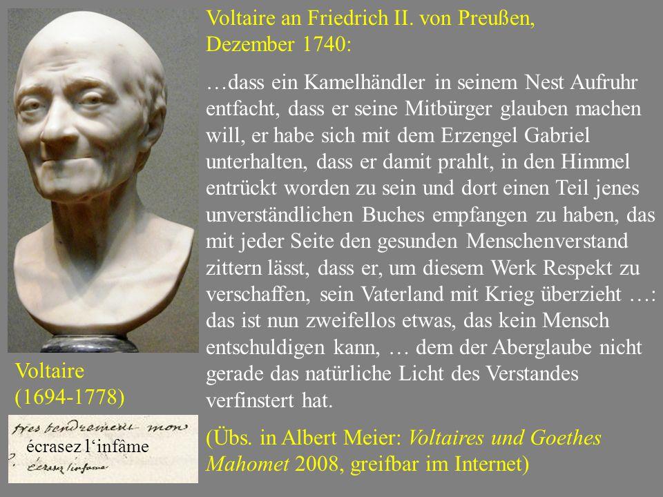 Voltaire an Friedrich II. von Preußen, Dezember 1740: