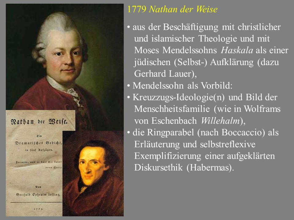 1779 Nathan der Weise aus der Beschäftigung mit christlicher. und islamischer Theologie und mit. Moses Mendelssohns Haskala als einer.