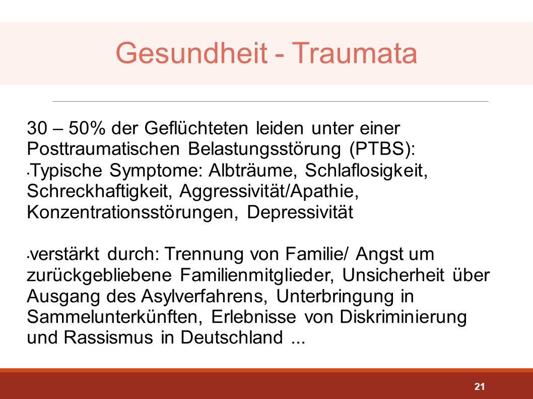 Gesundheit - Traumata 30 – 50% der Geflüchteten leiden unter einer Posttraumatischen Belastungsstörung (PTBS):